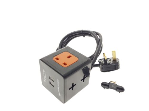BLACK 2M EXTENSION LEAD CUBE WITH USB SURGE PROTECTED /& WALL//TABLE MOUNTABLE