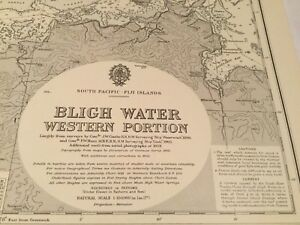 Genuine 60s Vintage Nautical Chart Fiji Islands