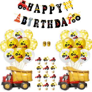 Construction camion pelle Pull Drapeau Ballon Set Boy Birthday Party Decor