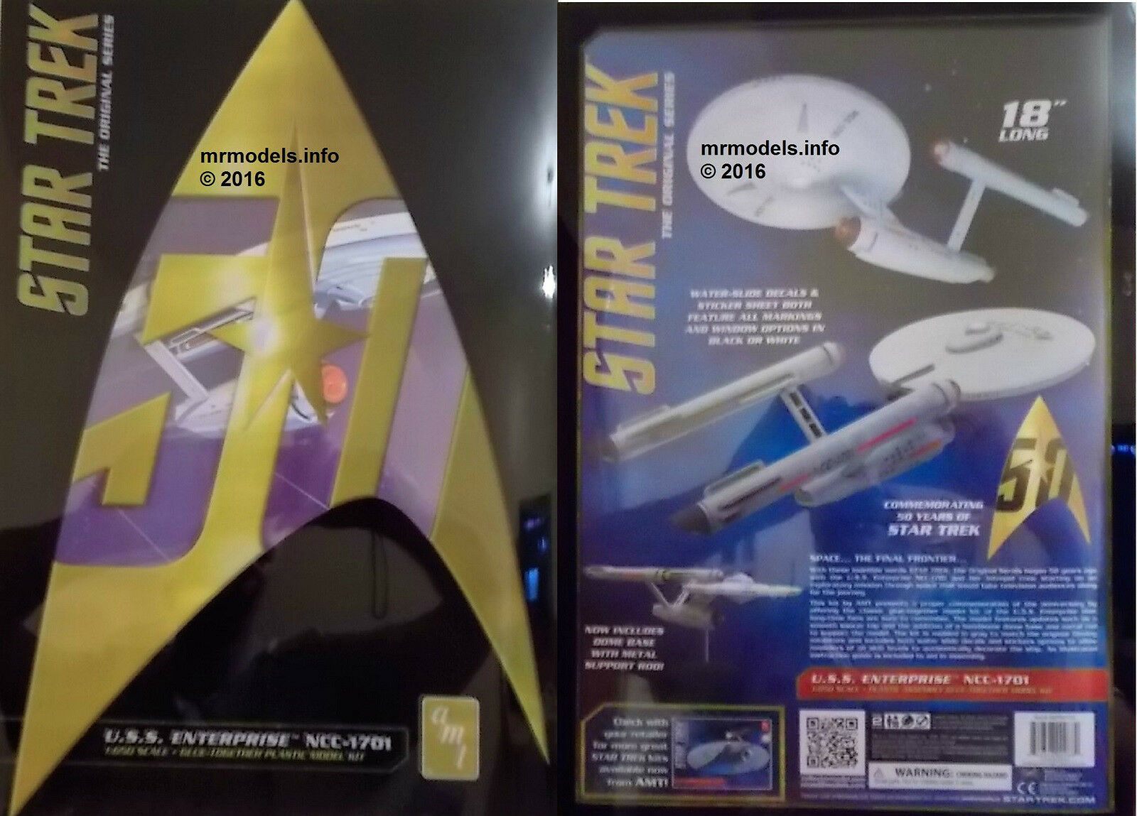 AMT 1 650 50th Anniversary Star Trek U.S.S. Enterprise New Plastic Model Kit 947