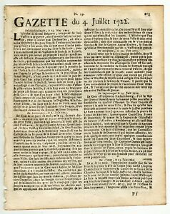 1722-july-4-Original-French-Gazette-with-news-from-London-Paris-and-more