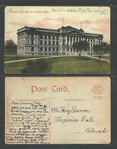 1910s-OMAHA-HIGH-SCHOOL-OMAHA-NEB-NEBRASKA-POSTCARD