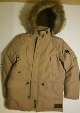 Mens Puffy Button Faux Fur Button Down Pocket M Winter Jacket OMR326H