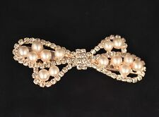 Gold tone Crocodile Hair clip Pearl Crsytal Wedding Bridal Party Hair Accessorie