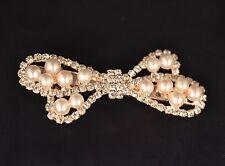Gold tone Crocodile Hair clip Pearl Crsytal Wedding Bridal Party Hair Accessorie