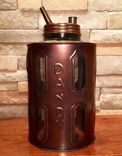 Tin Metal Dandy Kerosene Oil Vintage Glass Jug Container Can