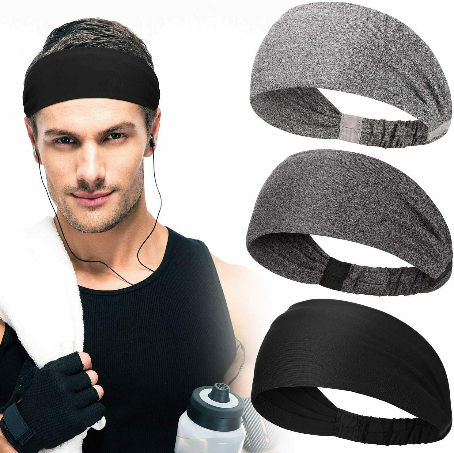 Hair Headband Sweatband Men Elastic Head Band Stretch Wrap Sport