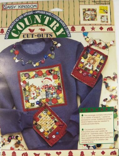 Raggedy Christmas Daisy Kingdom No Sew Fabric Applique Iron with Fusible Web New