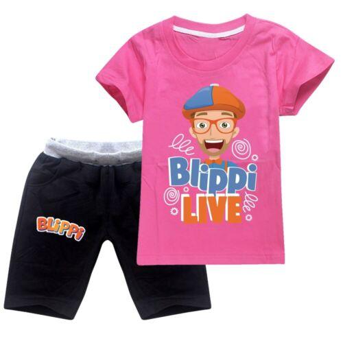 2Pcs Unspeakable BLIPPI Jeffy T Shirt Shorts Suit Kids Casual Summer Tracksuit