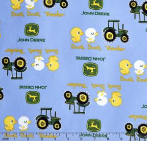 John-Deere-Nursery-Duck-Tractor-Blue-100-cotton-Fabric-Remnant-27-034