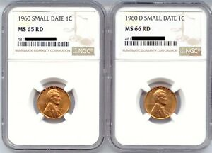 Small-Dates-1960-amp-1960-D-Lincoln-Cents-NGC-Certified-MS-65RD-amp-MS-66RD-pair