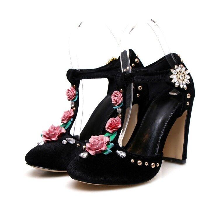 Sexy femmes bout rond Femmes Floral Cheville Buckle Block Talons Daim Fête Chaussures