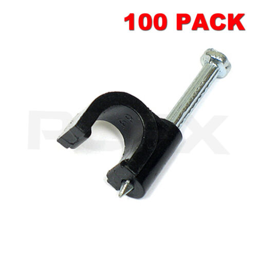 CAT5e//CAT6 Wall Mounts Aerial Brick Outdoor 100 X 10mm Black Round Cable Clips