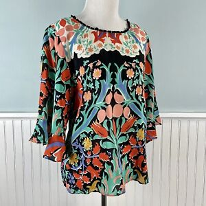 Size 4 Maeve Anthropologie 100% Silk Ruffle Sleeve Top Shirt Blouse Small S
