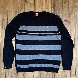 Puma-Gray-Black-Striped-Sweatshirt-Long-Sleeve-Men-s-XL