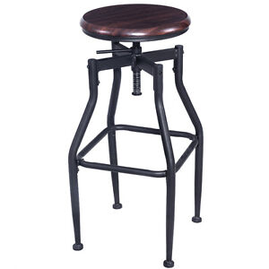 Image Is Loading New Vintage Bar Stool Metal Design Wood Top
