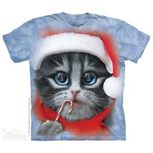 Big-Face-Xmas-Kitty-T-Shirt-by-The-Mountain-Christmas-Cat-Santa-Hat-In-Stock