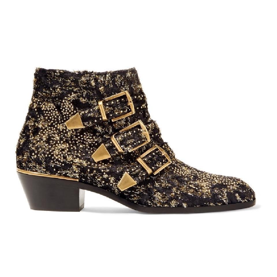 Nuevo En Caja Chloe Chloe Chloe Suzanna oro negro tachonado de terciopelo Coupe cortas al tobillo tacón botín 37  deportes calientes
