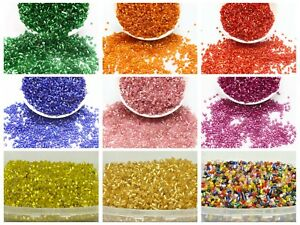 5000-Silver-Lined-Glass-Tube-Bugle-Seed-Beads-2X2mm-Storage-Box-Colour-Choice