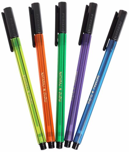 Pack of 10 Nataraj Glow BLUE Ball Pen Smooth writing light weight Finepen office