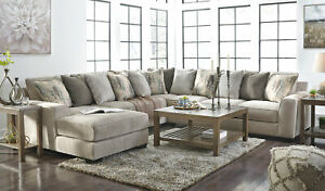 Modern 4 Pieces Sectional Living Room Gray Chenille Sofa Couch