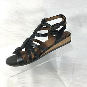 Indigo-By-Clarks-Women-039-s-Strappy-Sandals-Black-Leather-Ankle-Strap-size-9-M