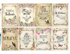 "8 Vintage ""Believe"" Motivational Hang Tags Scrapbooking Paper Crafts (223)"