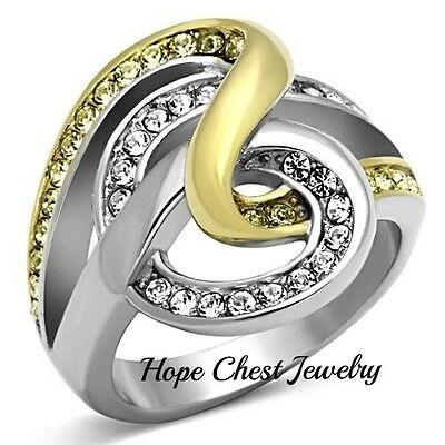 WOMEN'S 2 TONE STAINLESS STEEL INTERTWINED CRYSTAL FASHION RING - SIZE 5 - 10