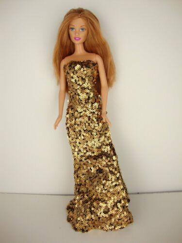 Daring Set of 2 Sequined Fitted Gowns in Gold and Silver Made to Fit Barbie Doll Clothing