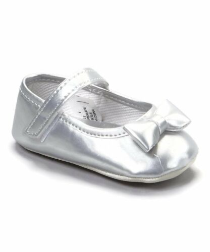 Adorable Patent Mary Jane SILVER Crib Shoes NEW Pitter Patter Sizes 0-3