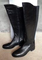 John Lewis Black Leather Long Knee High Zip Garda Boots Uk 3 4 5 Rrp £149 Bnib