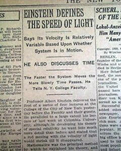 ALBERT EINSTEIN Lecture on SPEED OF LIGHT Time - 1st Visit to US 1921 Newspaper