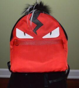 4bbc79d075c FENDI ROMA MONSTER MOHAWK BAG BUGS RED NYLON LEATHER BACKPACK FUR ...