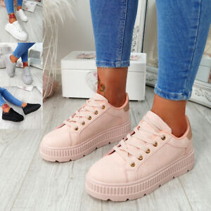 WOMENS-LADIES-PLATFORM-TRAINERS-LACE-UP-GLITTER-SNEAKERS-SHOES-SIZE-UK