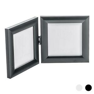 Double Photo Frame Picture Frames Folding Standing Hinged Black 4x4 5055512088492 Ebay