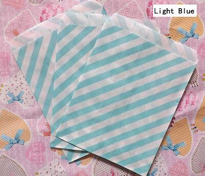 25 PCS Light Blue Diagonal Striped Popcorn Fries Hamburger Food Oil Paper Bags