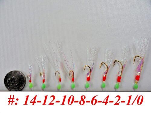 417 20 Packs Size #8 Sabiki Bait Rigs 6 Hooks Offshore Saltwater Lures