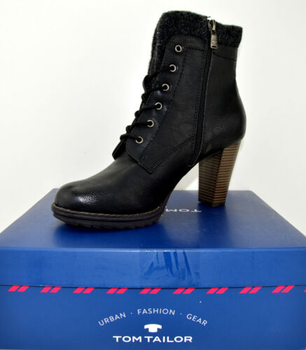 Tom Tailor Bottine bottes chaussures boots taille 40 noir NEUF