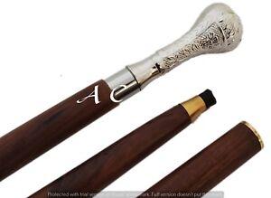 Vintage-antike-Spazierstock-Holz-Gehstock-Silber-Messing-Griff-Knob-Geschenk