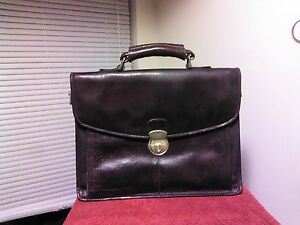 East West Leather New York London Soft Leather Briefcase Lawyer Attache Nice!