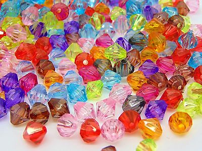 100 Pcs Mixed Colour 8mm Acrylic Faceted Bicone Beads Acrylic Plastic T85