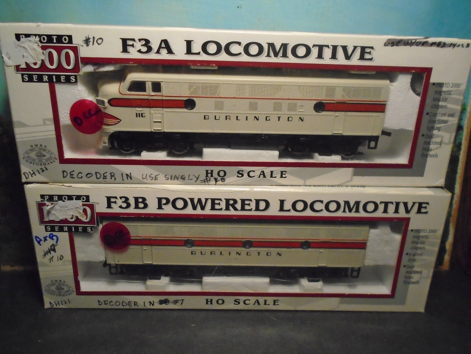 ProssoO 1000 HO SCALE  8165 23965 F3A B POWErosso BURLINGTON  116 120B  W DCC