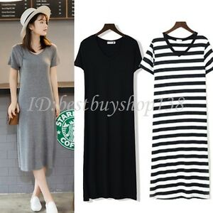 add9541c3c4c Womens Short Sleeve V Neck Midi Dress T-shirt Dress Casual Party ...