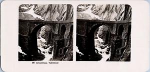 Stéréo, Suisse, Gotthardstrasse, Teufelsbrücke Vintage stereo card  Tirage arg