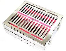 2german Dental Autoclave Sterilization Cassette Rack Tray For 15 Instrument Pink