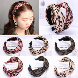 Girls Wide Hairband Leopard Print Ladies Hair Hoop Women Headband Twist Knot UK