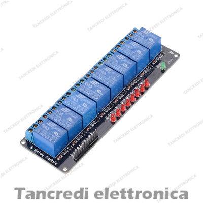 Modulo scheda a 8 relè relay canali 5Vdc 5V 10A 250V shield arduino raspberry