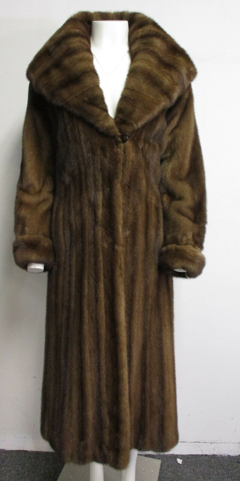 NAFA Mink Fur mahogany shawl collar full length coat womens sz 4