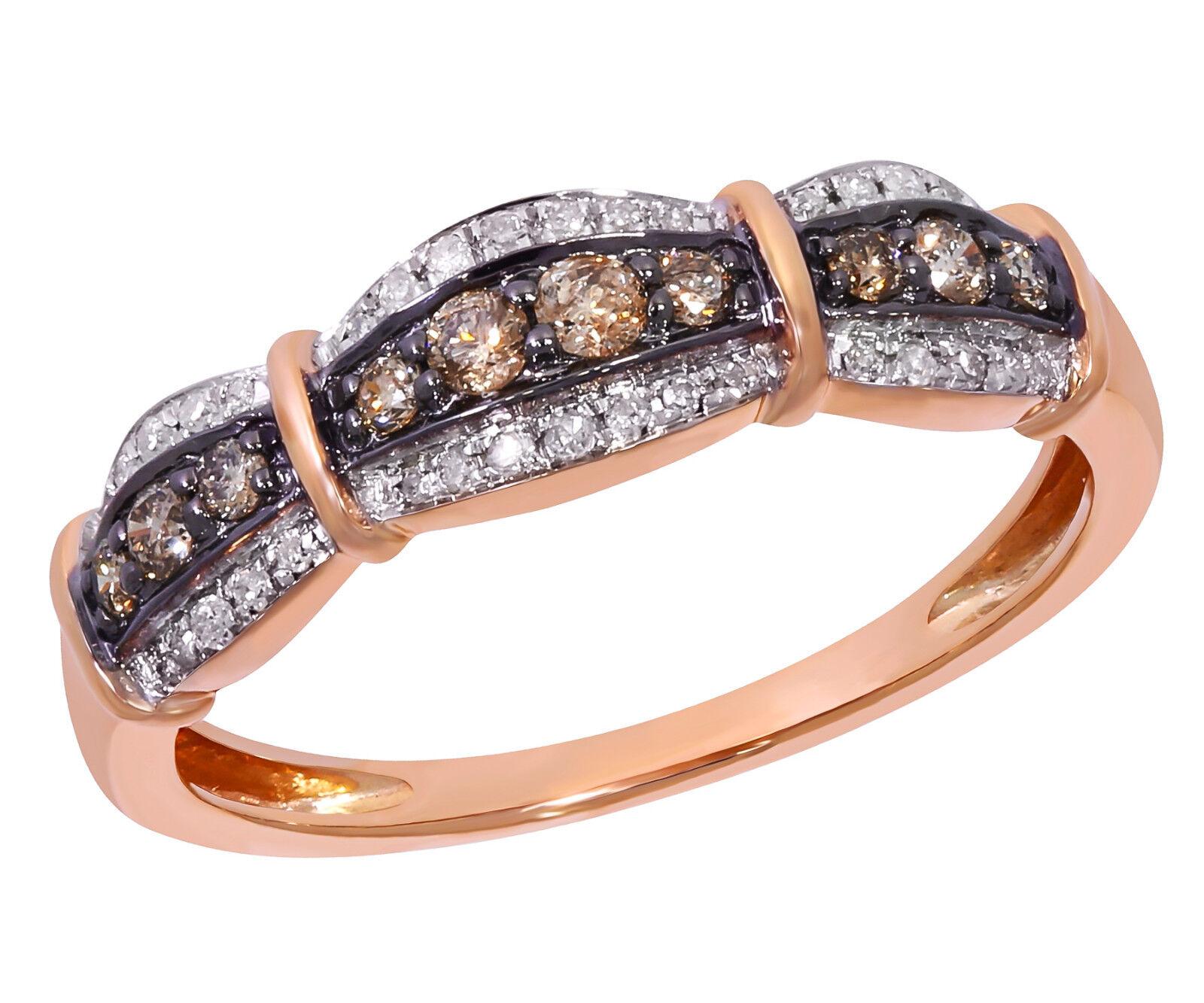 Prism Jewel 0.31Ct Round Cut Brown color Diamond with Diamond Anniversary Ring