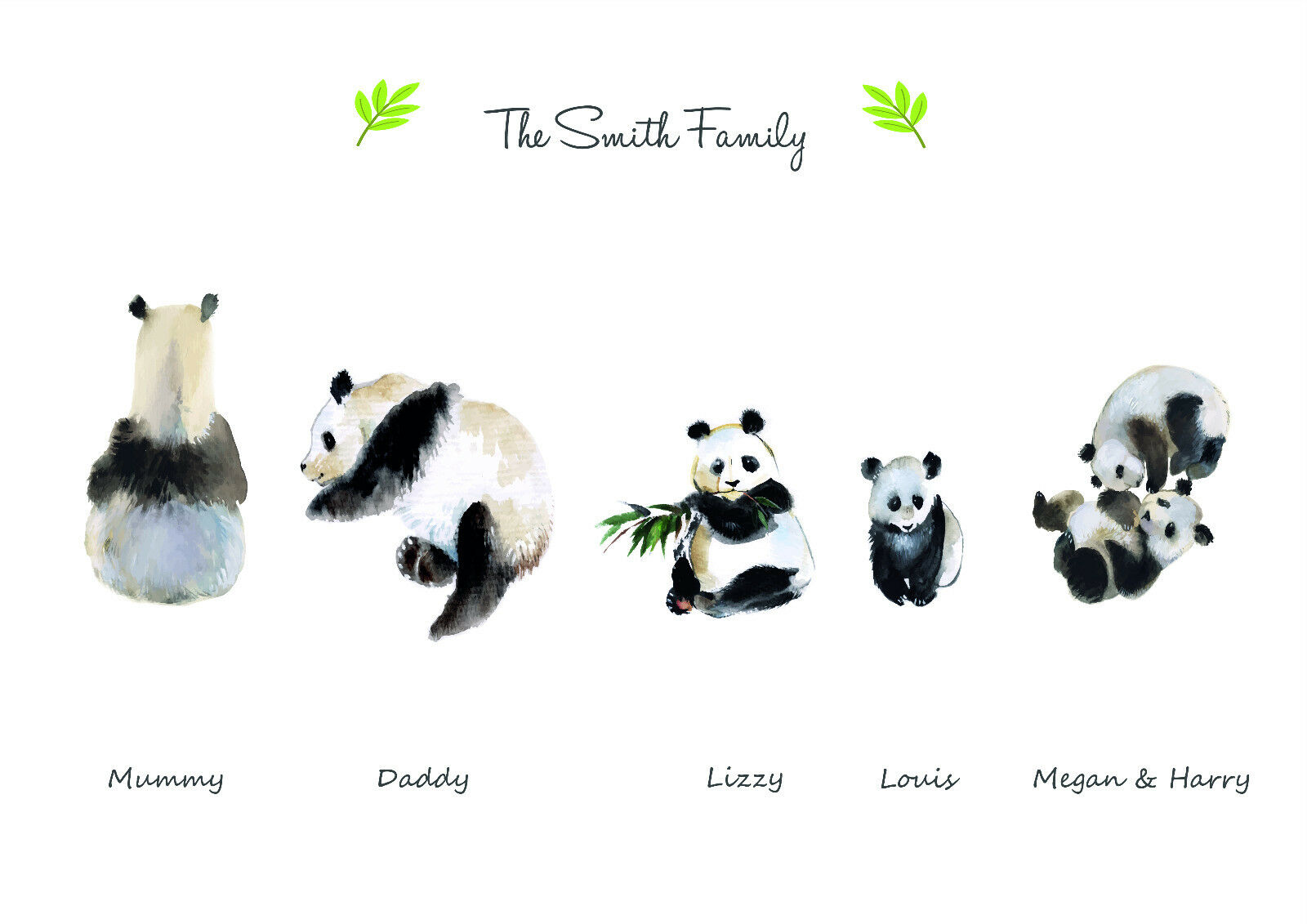PERSONALISED FAMILY POLAR BEAR ART PRINT  - BUILD YOUR OWN FAMILY TREE PIC